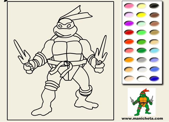 Раскраска черепашки ниндзя раскрасить онлайн 46